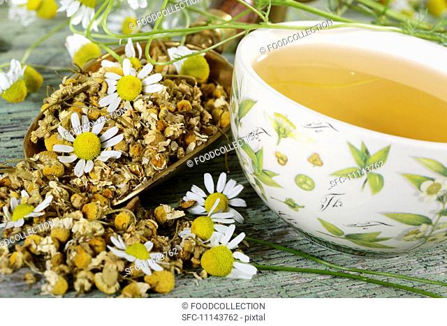A cup of chamomile tea with chamomile flowers