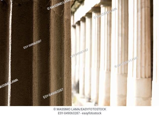 Torre Annunziata (Naples), Italy Ancient columns in the Poppea's Villa in Oplonti
