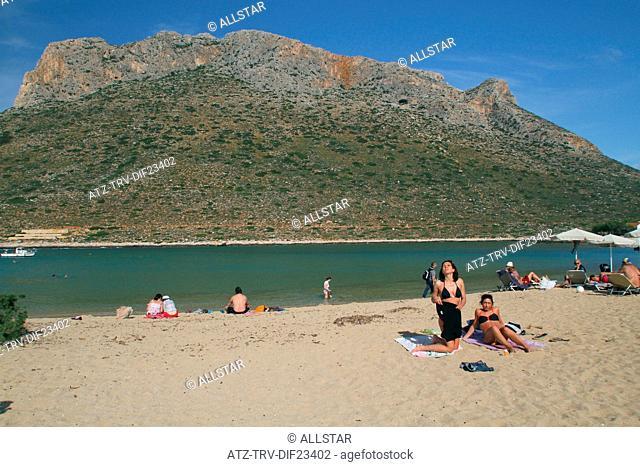 STAVROS BEACH & LAGOON; STAVROS, CRETE, GREECE, EUROPE; 28/04/2014