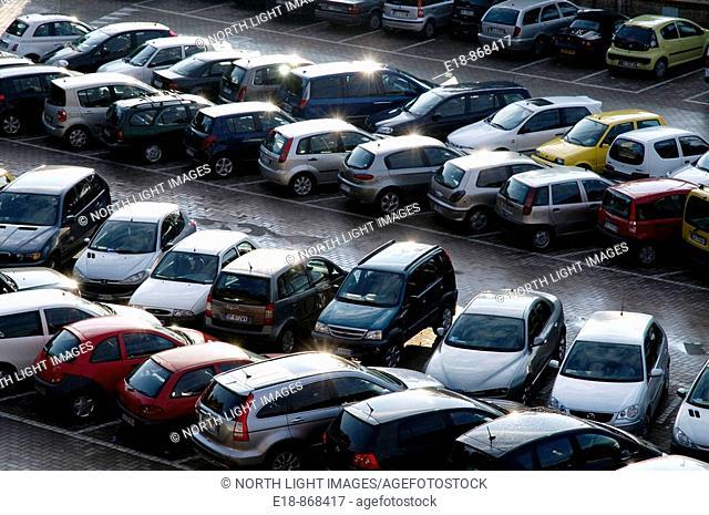Italy, Tuscany, Siena.  Full parking lot