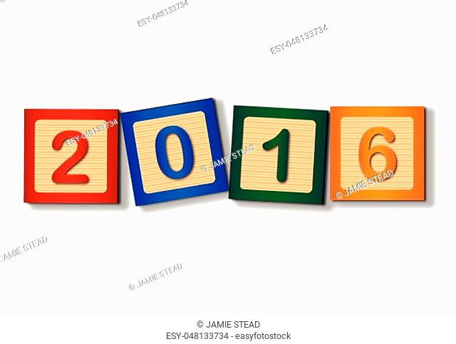 Wooden blocks giving the new years date of 2016
