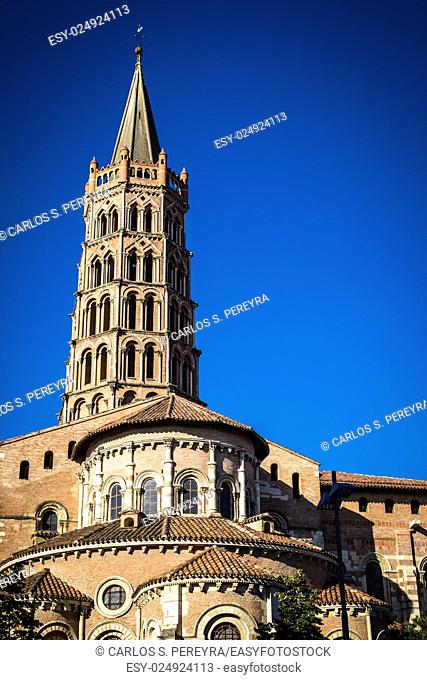 St. Sernin Basilica, It was built in the Romanesque style between about 1080 and 1120, Toulouse, France. The view of bell tower and apse