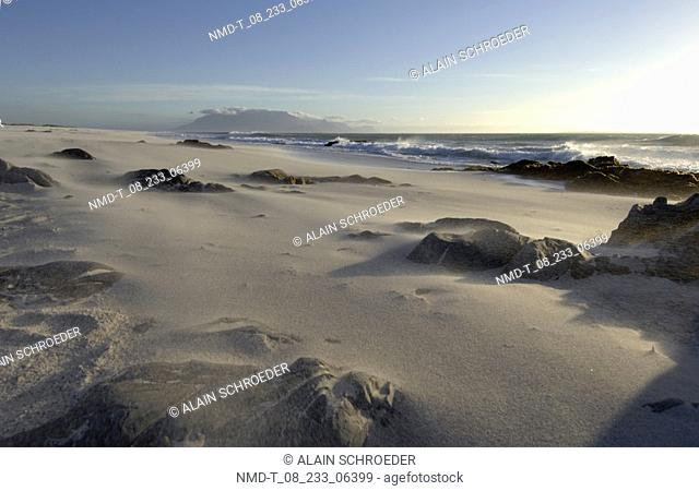 Rocks on the beach, Blaauwberg Strand, Cape Town, Western Cape Province, South Africa