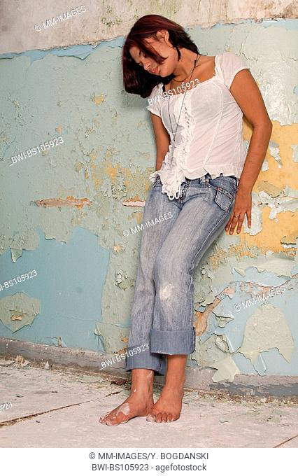 young woman wearing jeans