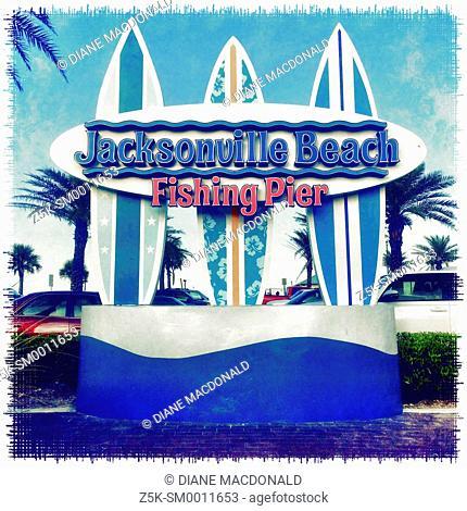 Jacksonville Beach Fishing Pier sign, Jacksonville Beach, Florida, USA