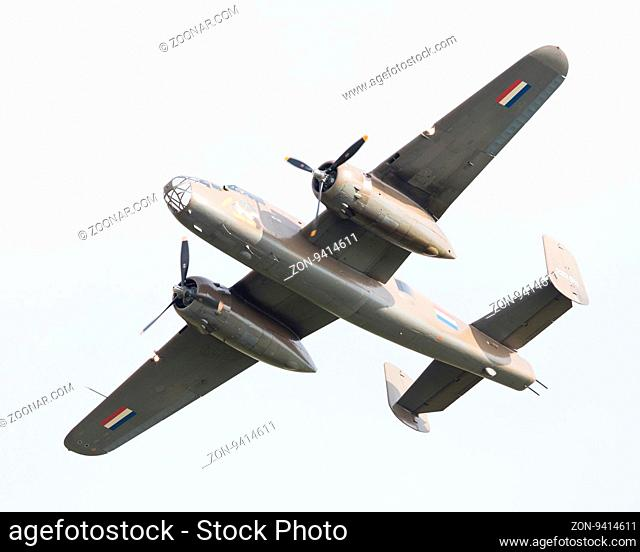 LEEUWARDEN, THE NETHERLANDS - JUNE 10: WW2 B-25 Mitchell bomber in Dutch markings during the Dutch Air Force Open House. June 10, 2016 in Leeuwarden