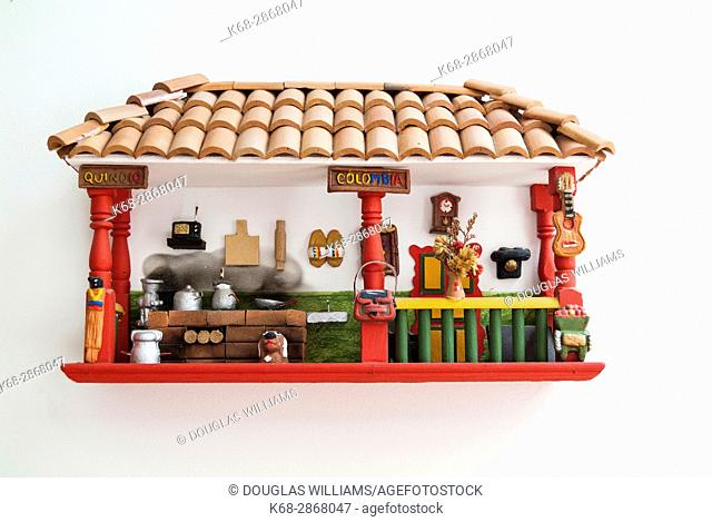 A decoration depicting a home in Salento, Colombia