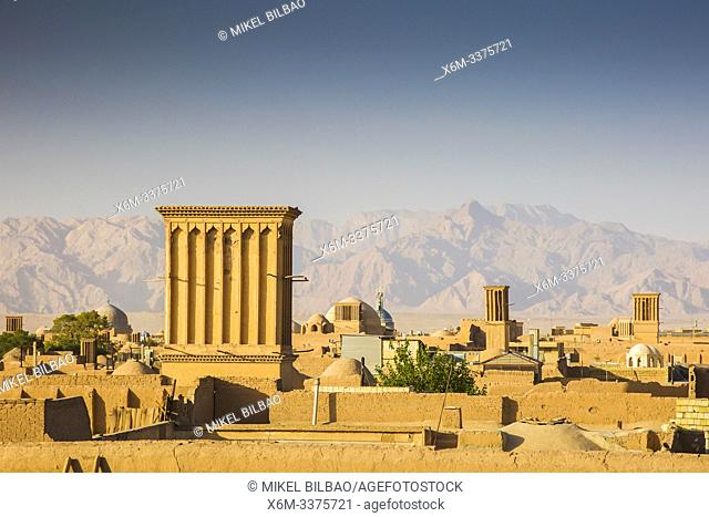 Windtowers or badgirs (traditional architectural element to create natural ventilation). Yazd, Iran, Asia