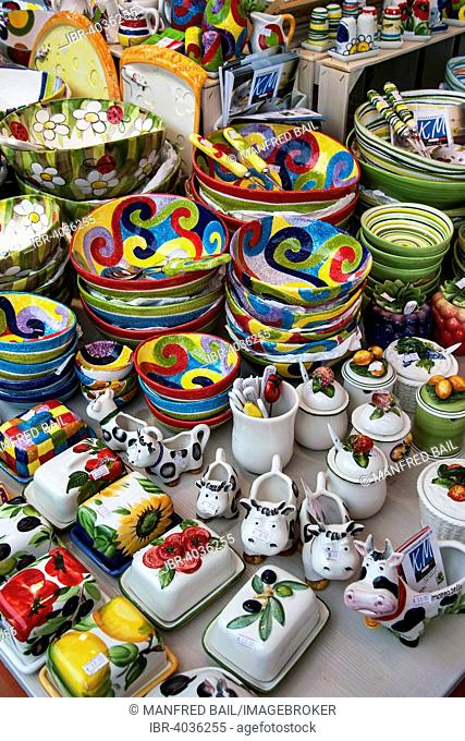 Colorful earthenware dishes, Auer Dult, Munich, Upper Bavaria, Bavaria, Germany