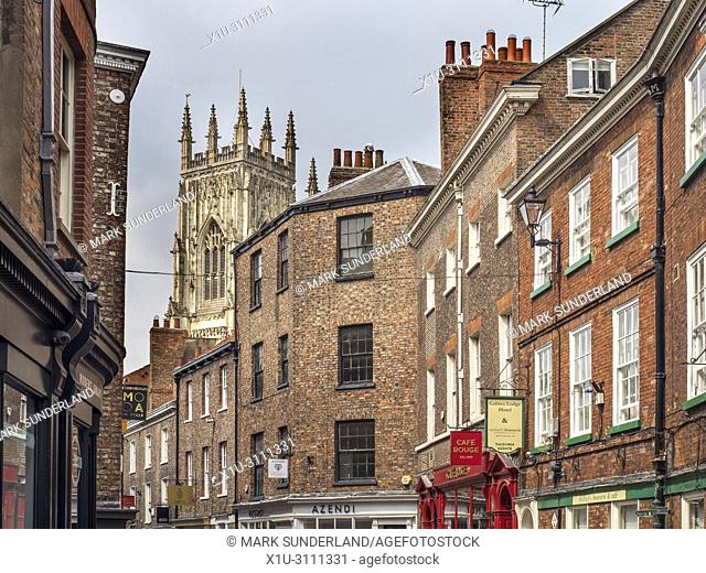Tower of York Minster visible from Petergate City of York Yorkshire England