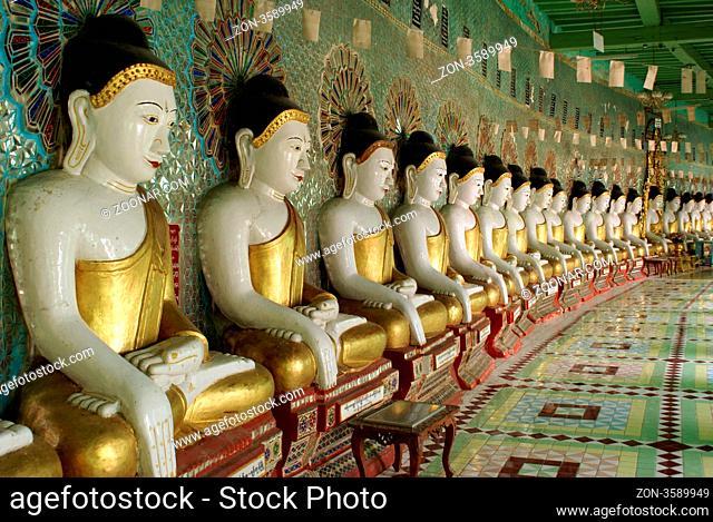 Buddhas in temple, Sagaing hill, Mandalay, Myanmar