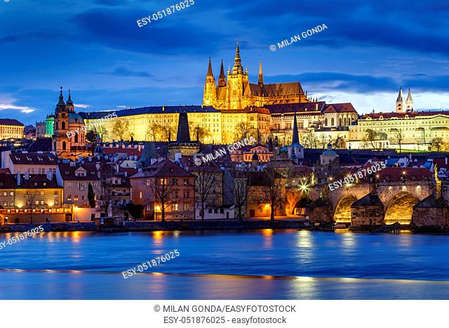 Evening view of Prague Castle over river Vltava