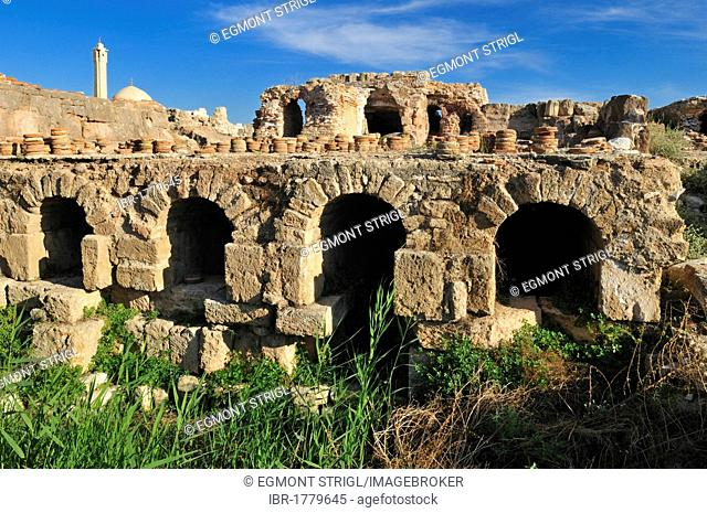 Roman heating system, antique archeological site of Tyros, Tyre, Sour, Unesco World Heritage Site, Lebanon, Middle East, West Asia