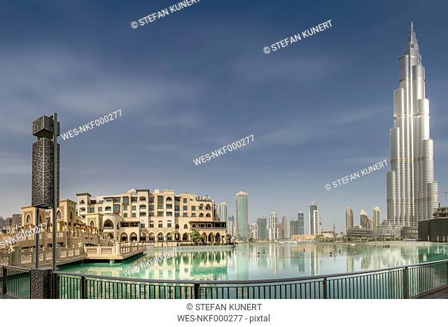 United Arab Emirates, Dubai, Burj Khalifa, Burj Khalifa Lake and Souk Al Bahar