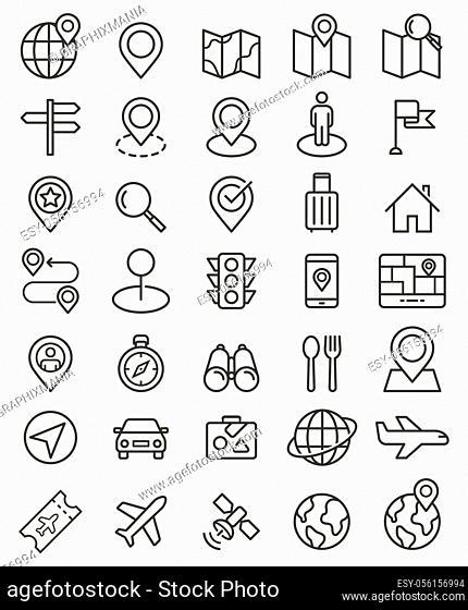 Navigator pointer line icons set. Vector illustrations