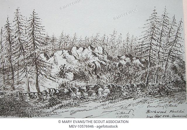 Sketch of greenstone rocks at Birchwood Plantation near the village of Copt Oak, Charnwood, Swithland, Leicestershire, by Reverend Baden Powell (1796-1860)