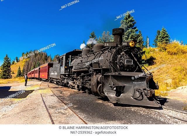 The Cumbres & Toltec Scenic Railroad train pulled by a steam locomotive on the 64 mile run between Chama, New Mexico and Antonito