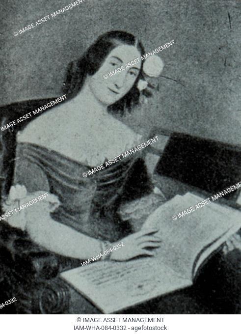 Portrait of Portrait of Giuseppina Strepponi (1815-1897) wife of Ritratto di Giuseppe Verdi (1813-1901) an Italian composer. Dated 19th Century