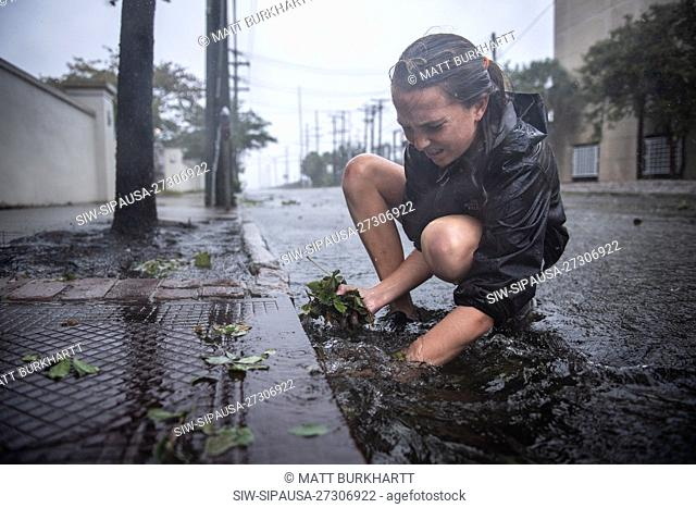 September 5, 2019; Charleston, SC, USA; Martha Rivers, 13, pulls leaves out of storm drains to help facilitate rainwater drainage during Hurricane Dorian on...
