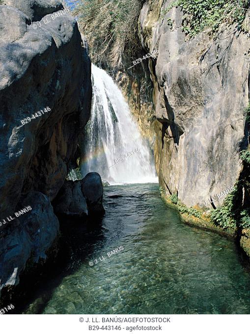 Fonts de l'Algar (Algar river source waterfall). Callosa d'En Sarrià. Alicante province, Spain