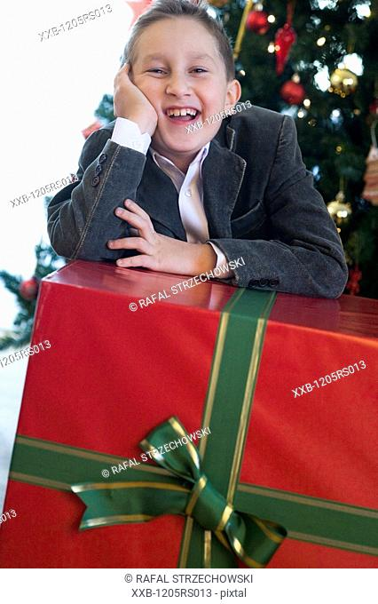 boy with a christams gift