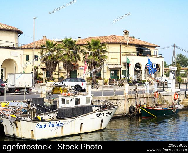 Fishing boats in the little fisherman village in Ostia - Rome, Italy