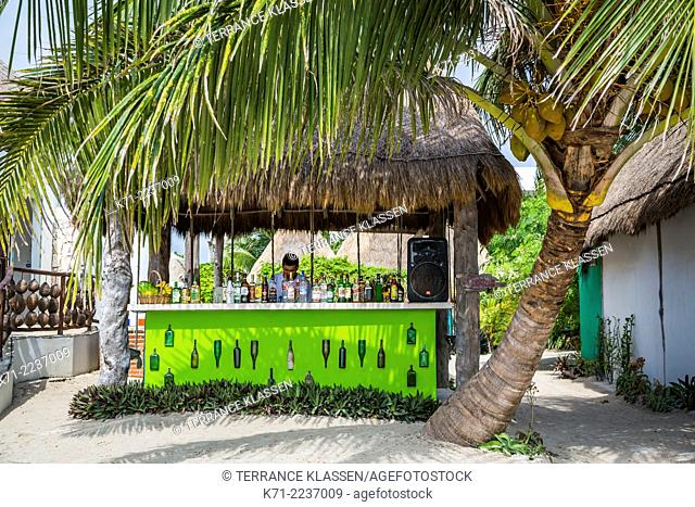 Beachside shops and stores in the village of Mahahual, Mexico