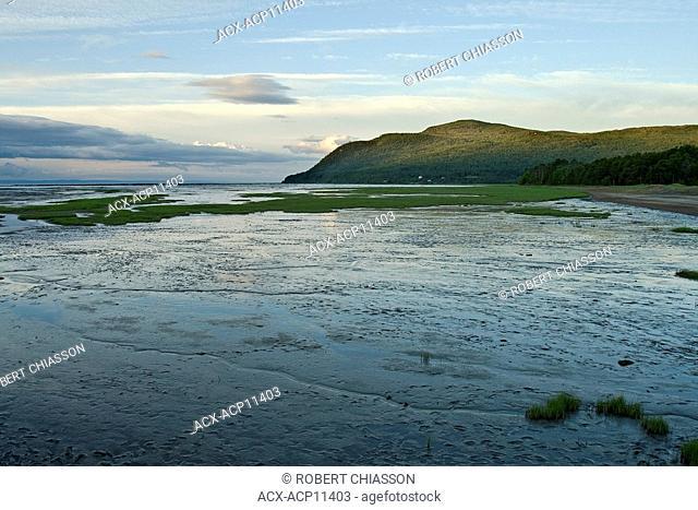 Estuary where the Gouffre River empties into the St. Lawrence River, Baie-Saint-Paul, Quebec, Canada