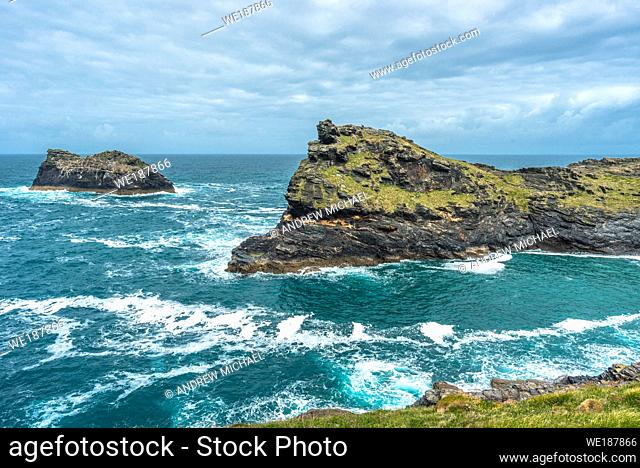 Warren point at the entrance of Boscastle Harbour in North Cornwall, England, UK