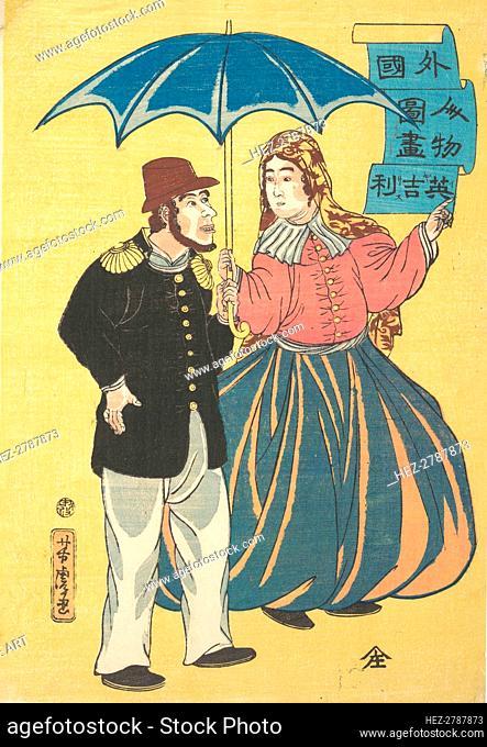 English Couple Sharing an Umbrella. Creator: Utagawa Yoshitora