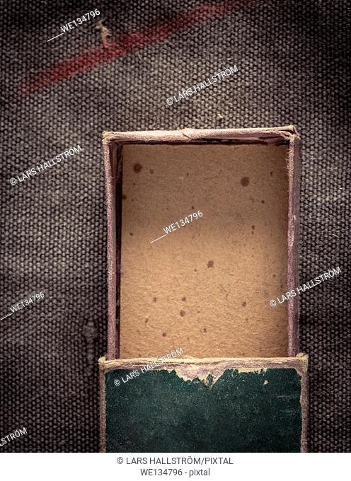 Top view of open and empty old fashioned paper box