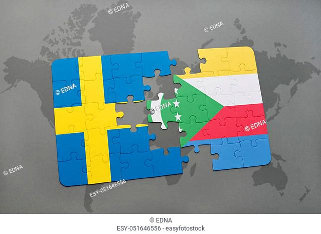 puzzle with the national flag of sweden and comoros on a world map background. 3D illustration