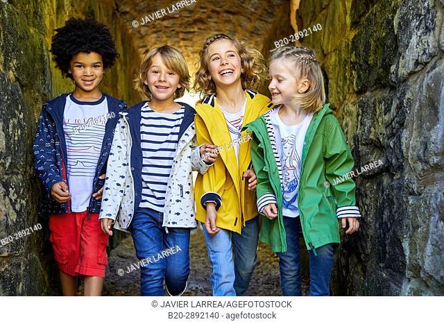 Children, Mollarri Interpretation Center, Marine clothing, Zarautz, Gipuzkoa, Basque Country, Spain, Europe