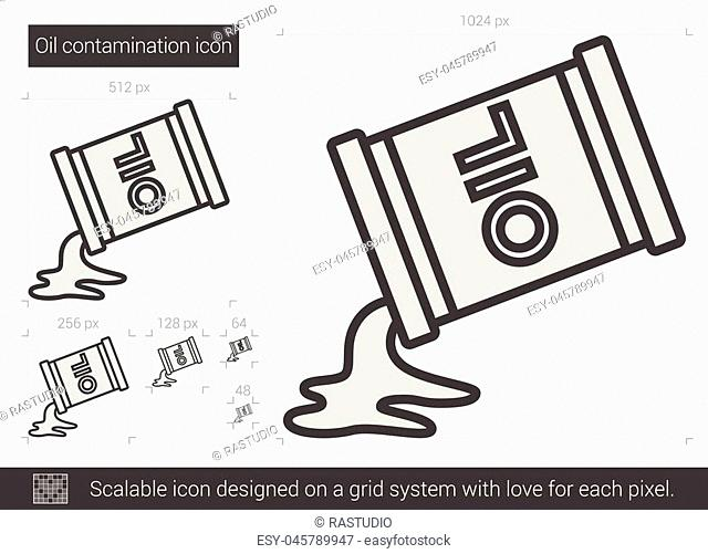 Oil contamination vector line icon isolated on white background. Oil contamination line icon for infographic, website or app