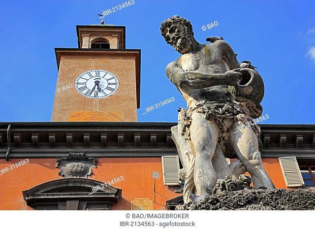 Statue of Crostolo, Piazza Prampolini, Palazzo del Monte di Pieta, Reggio Emilia, Emilia Romagna, Italy, Europe