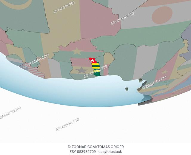 Togo on political globe with embedded flag. 3D illustration