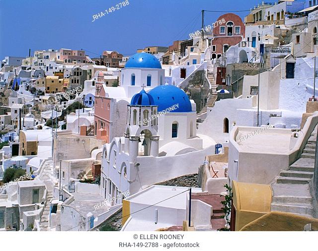 View over the blue domes and white houses of the village of Oia, Santorini Thira, Cyclades, Greek Islands, Greece, Europe