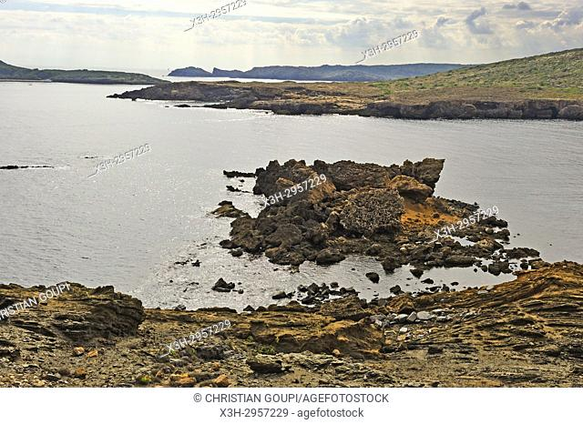 eroded rocks of the headland Es Colomar, s'Albufera des Grau Natural Park, Menorca, Balearic Islands, Spain, Europe