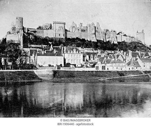 Early autotype of the Chateau de Chinon castle, Département Indre-et-Loire, France, 1880