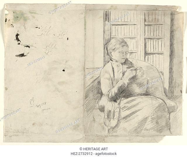 Knitting in the Library (recto), c. 1881. Creator: Mary Cassatt (American, 1844-1926)