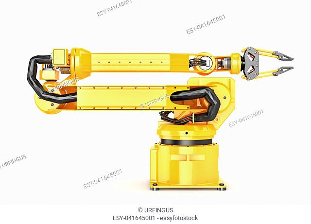 Factory manipulator. Automatic hand for conveyor. 3d illustration