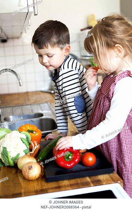 Preparing vegetables in the kitchen