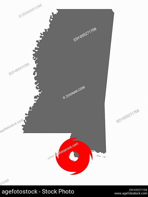 Karte von Mississippi und Hurrikansymbol - Map of Mississippi and hurricane symbol