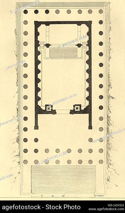 General plan map, temple of Jupiter, Baalbek, UNESCO World Heritage Site, Lebanon, Middle East. Old engraving by Lemaitre published in L'Univers Syria, in 1841