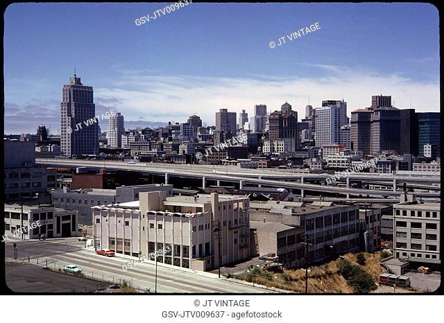 Cityscape Viewed from Bay Bridge, San Francisco, California, USA, 1963