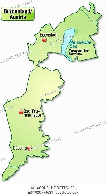 Karte von Burgenland als Übersichtskarte in Pastellgrün