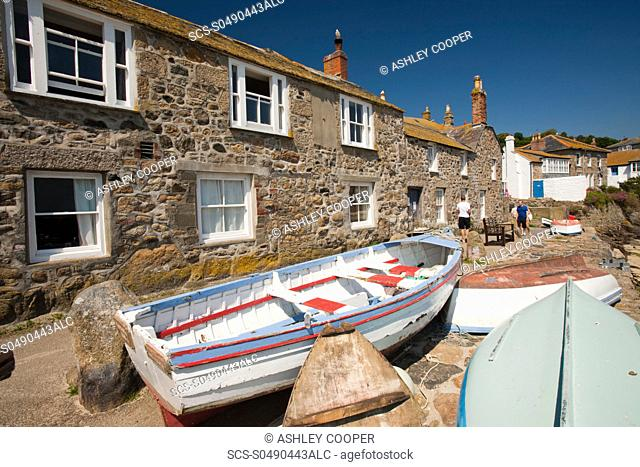 An old fishing boat in Mousehole in Cornwall, UK