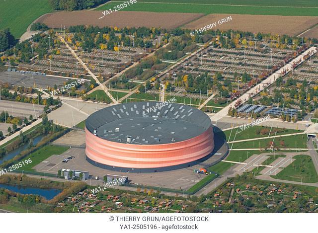 France, Bas Rhin 67, Strasbourg, Hautepierre, Concert hall Le Zenith aerial view