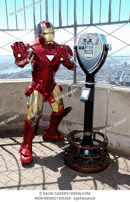 Iron Man visits the Empire State Building in NYC for the the Police Athletic League's Centennial. Featuring: Iron Man Where: New York, New York