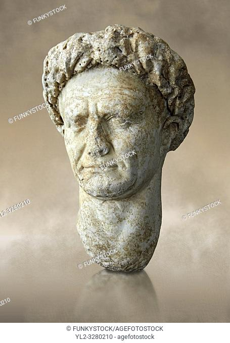 Roman Portrait bust of Roman Emperor Vespasian, circa 69 to 79 AD excavated from Minturno. The National Roman Museum, Rome, Italy
